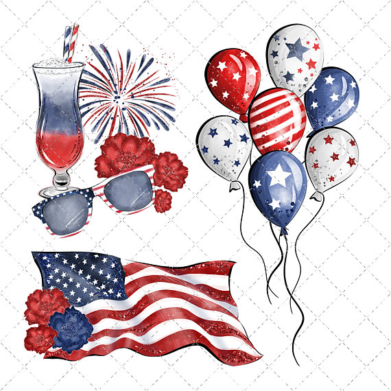 4th of july clipart watercolor image freeuse Independance Day Watercolor Clipart, 4th Of July Clipart, America ... image freeuse