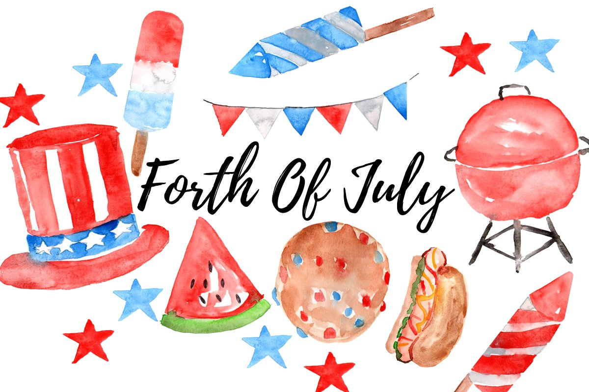 4th of july clipart watercolor transparent stock Watercolor Forth Of July Clipart transparent stock