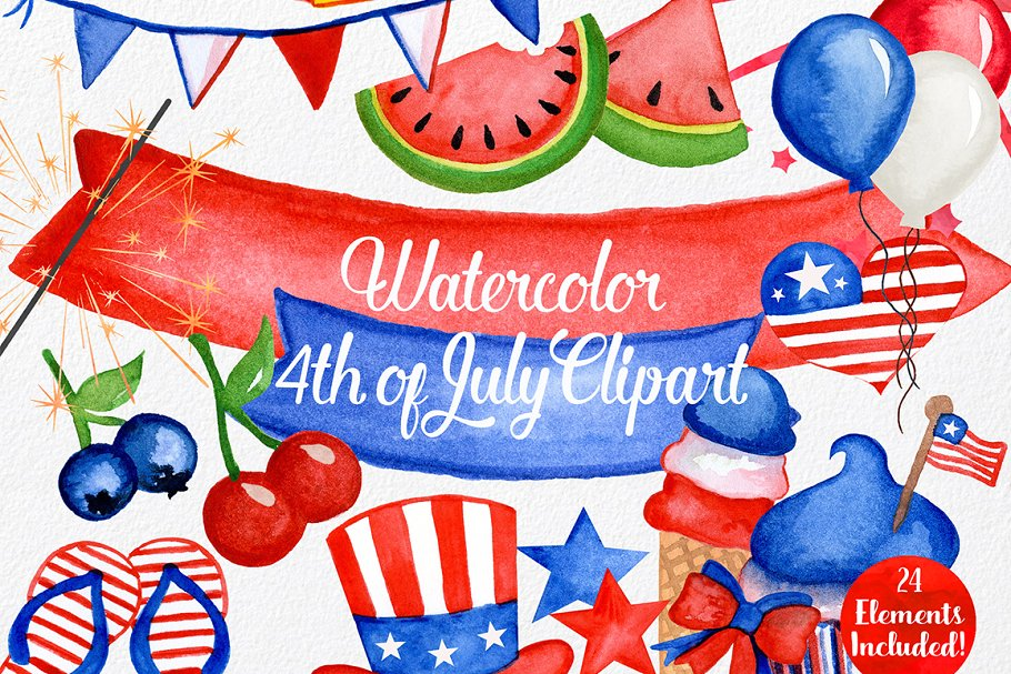 4th of july clipart watercolor clip black and white stock Watercolor 4th of July Graphics clip black and white stock