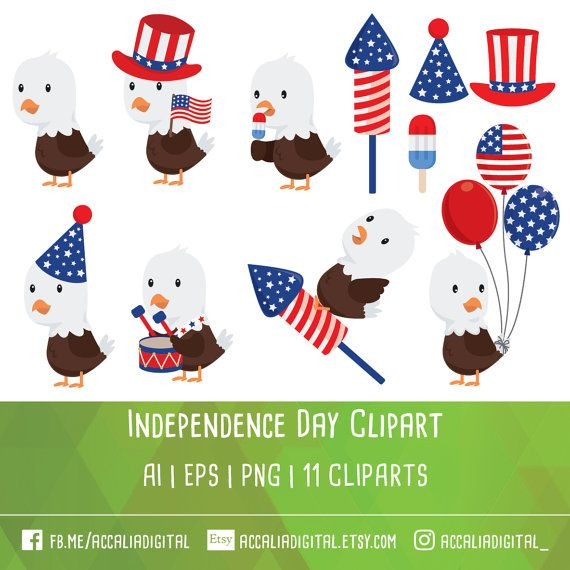 4th of july eagle clipart vector library library 50% OFF Fourth of July clipart Independence day by accaliadigital ... vector library library