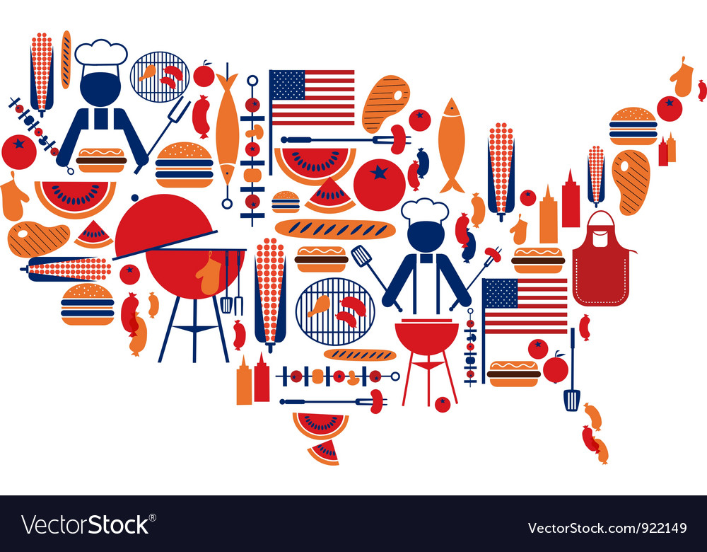 4th of july grill clipart clip transparent 4th of July celebration Flag with barbecue icons clip transparent
