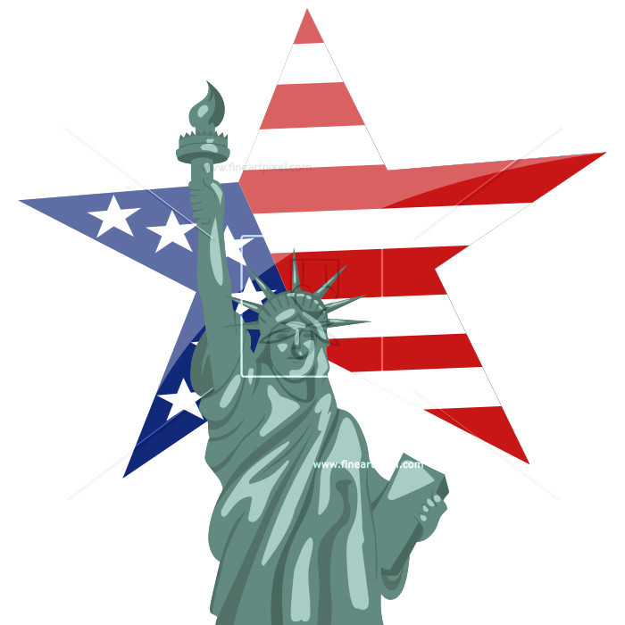 4th of july statue of liberty clipart