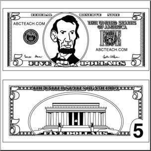 Five dollar bill clipart jpg library library Clip Art: Five Dollar Bill Outline B&W I abcteach.com | abcteach jpg library library