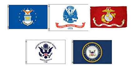 5 branches of military clipart image library library Set of 5 Branches Military 3\'x5\' Double Sided Polyester Flags: Army, Air  Force, EGA, Coast Guard, Navy Emblem image library library