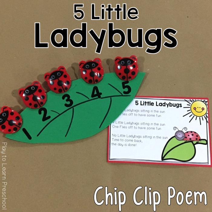5 little ladybugs clipart image transparent library 10 Fun Chip Clips Poems for Developing Math Concepts with Preschoolers image transparent library