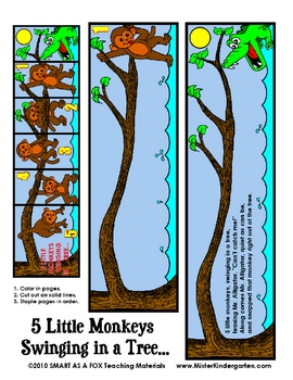 Monkeys swinging in the tree aligator clipart svg black and white library Five Little Monkeys Swinging On A Tree Worksheets & Teaching ... svg black and white library