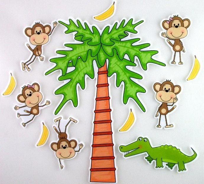 Monkeys swinging in the tree aligator clipart clip art free stock Five Little Monkeys Swinging from a Tree Felt Board Activty Set ... clip art free stock