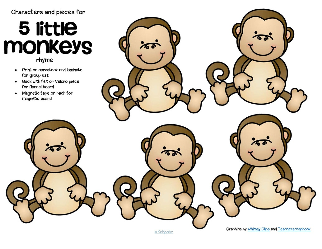 5 little monkeys alligator clipart image free Five Little Monkeys Swinging In A Tree Coloring Pages | Top Free ... image free