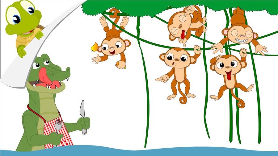 5 little monkeys alligator clipart clip art library Download five little monkeys swinging in a tree clipart Five Little ... clip art library