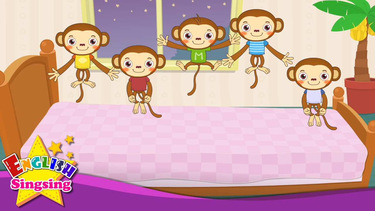 5 little monkeys clipart free svg library download Five Little Monkeys Jumping on the Bed - Nursery Popular Rhymes - English  Song For Kids - Music svg library download
