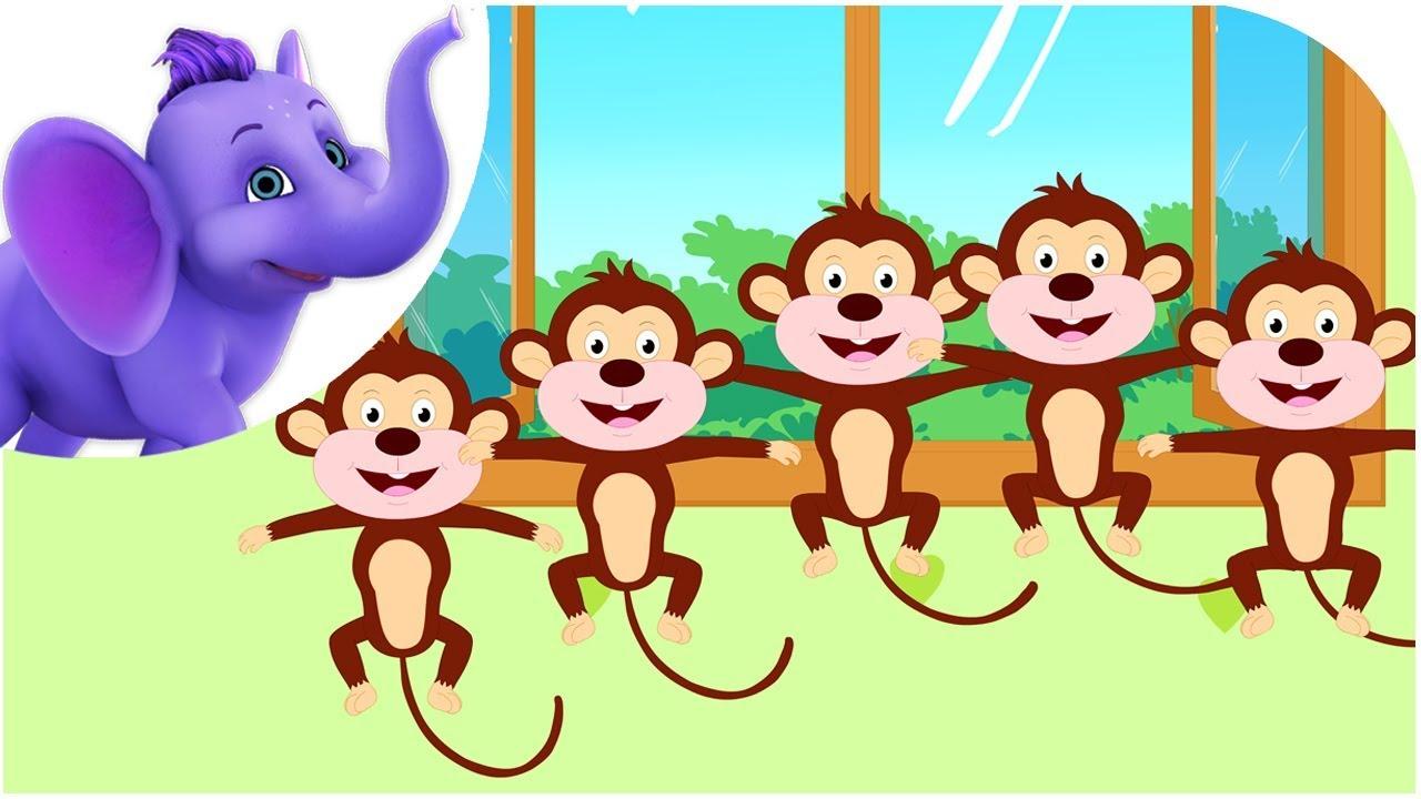 5 little monkeys clipart free vector black and white download Five Little Monkeys - Nursery Rhyme with Karaoke vector black and white download