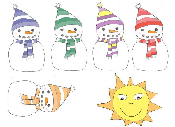 5 little snowman clipart image library library 5 little snowmen   January Speech therapy ideas   Snowman poem ... image library library