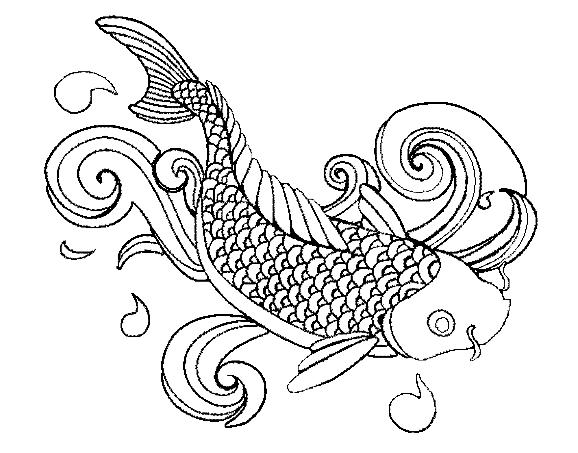 Fish with bubbles clipart black and white jpg royalty free Aquarium Fish Drawing at GetDrawings.com | Free for personal use ... jpg royalty free