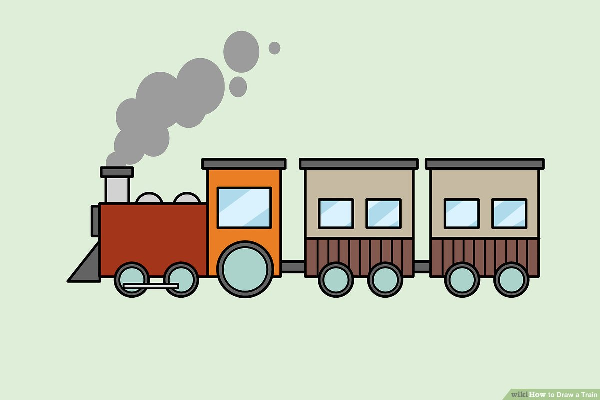 5 trains and each train is bigger images clipart banner freeuse library 4 Ways to Draw a Train - wikiHow banner freeuse library