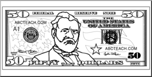 50 dollar bills clipart clip black and white library Clip Art: Fifty Dollar Bill Outline Front | abcteach clip black and white library