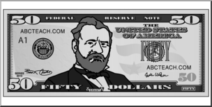 50 dollar bills clipart jpg free download Clip Art: Fifty Dollar Bill Grayscale Front | abcteach jpg free download
