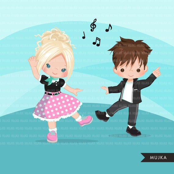 50 s boys and girls clipart clip stock Sock Hop Party Clipart. 50\'s retro characters dancing, swing ... clip stock