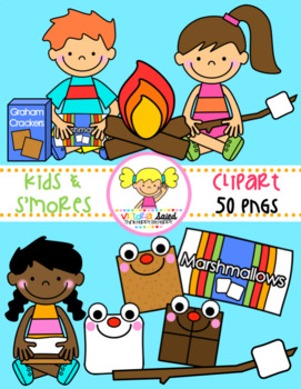 50 s kids clipart image freeuse library Kids with S\'mores Clipart image freeuse library