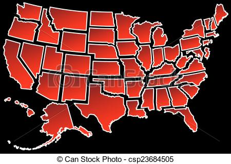 Vector of us map. 50 states clipart