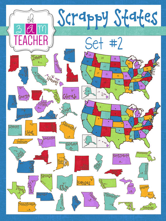 50 states clipart banner download States names clipart - ClipartFest banner download