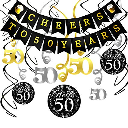 50 years old clipart vector black and white stock Konsait 50th Birthday Decorations Kit Cheers to 50 Years Banner Swallowtail  Bunting Garland Sparkling Celebration 50 Hanging Swirls,Perfect 50 Years ... vector black and white stock