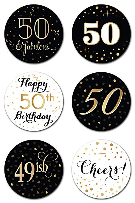 50 years old clipart clipart royalty free 50th Birthday Party Favor Stickers (Pack of 324) - 50 Year Old Labels  Decorations Supplies - Gold, Black and White clipart royalty free
