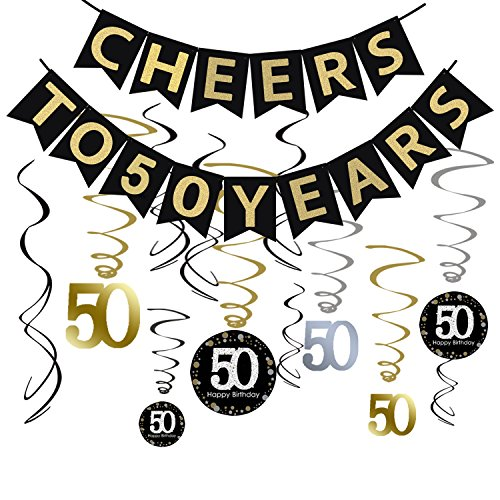 50 years old clipart picture freeuse download Tuoyi 50th BIRTHDAY PARTY DECORATIONS KIT - Cheers to 50 Years Banner,  Sparkling Celebration 50 Hanging Swirls, Perfect 50 Years Old Party  Supplies ... picture freeuse download