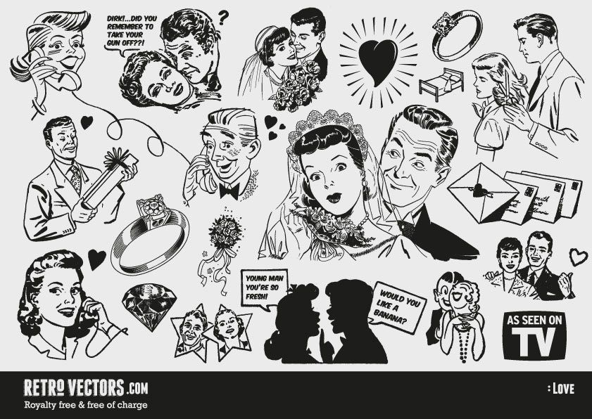 Retro clipart free jpg transparent download Free \'50s Love themed clipart | Vintage Vectors | Royalty Free ... jpg transparent download