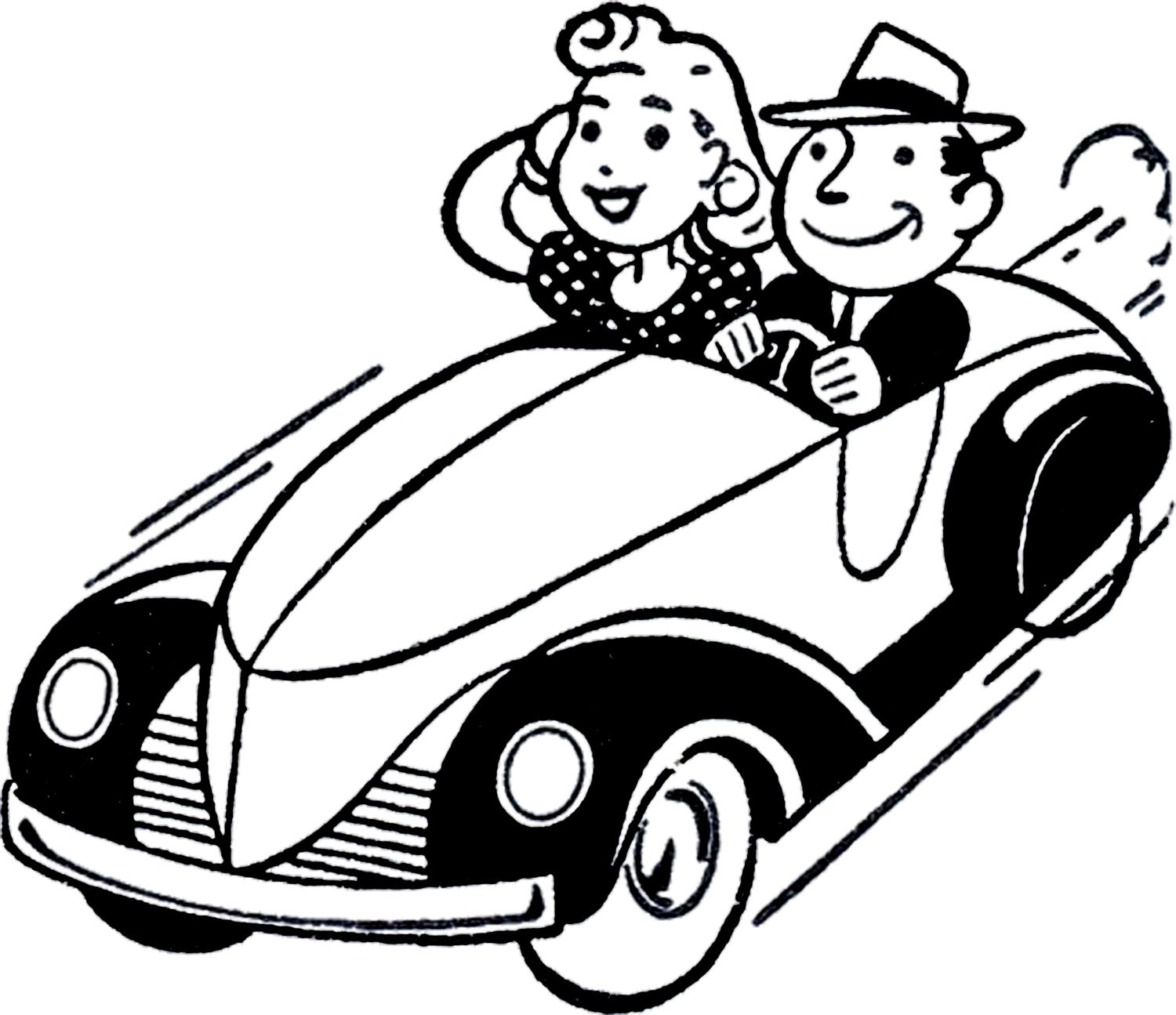 Vintage roadtrip clipart black and white download Classic Car Graphics Cliparts - Free Clipart black and white download