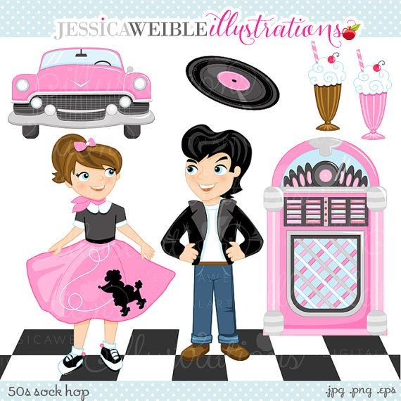 Clipart fifties clip 50s Sock Hop clipart set comes with 8 graphics including: a girl in ... clip