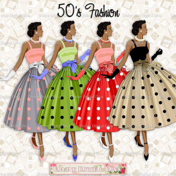 50s fashion clipart clipart transparent stock 12 Ladies of Color 50s Fashion Polka Dot Dress | Transparent Clipart ... clipart transparent stock