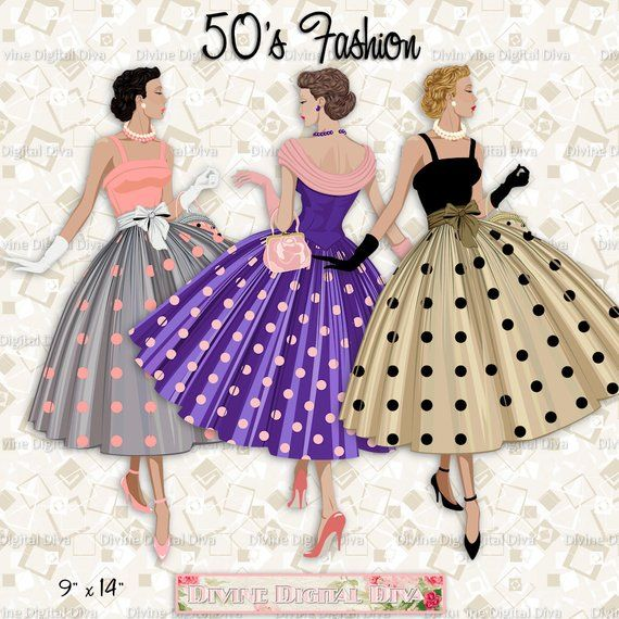 50s fashion clipart graphic black and white library 12 Fashion 50s Ladies Polka Dot Dress | Light Skin Tone ... graphic black and white library