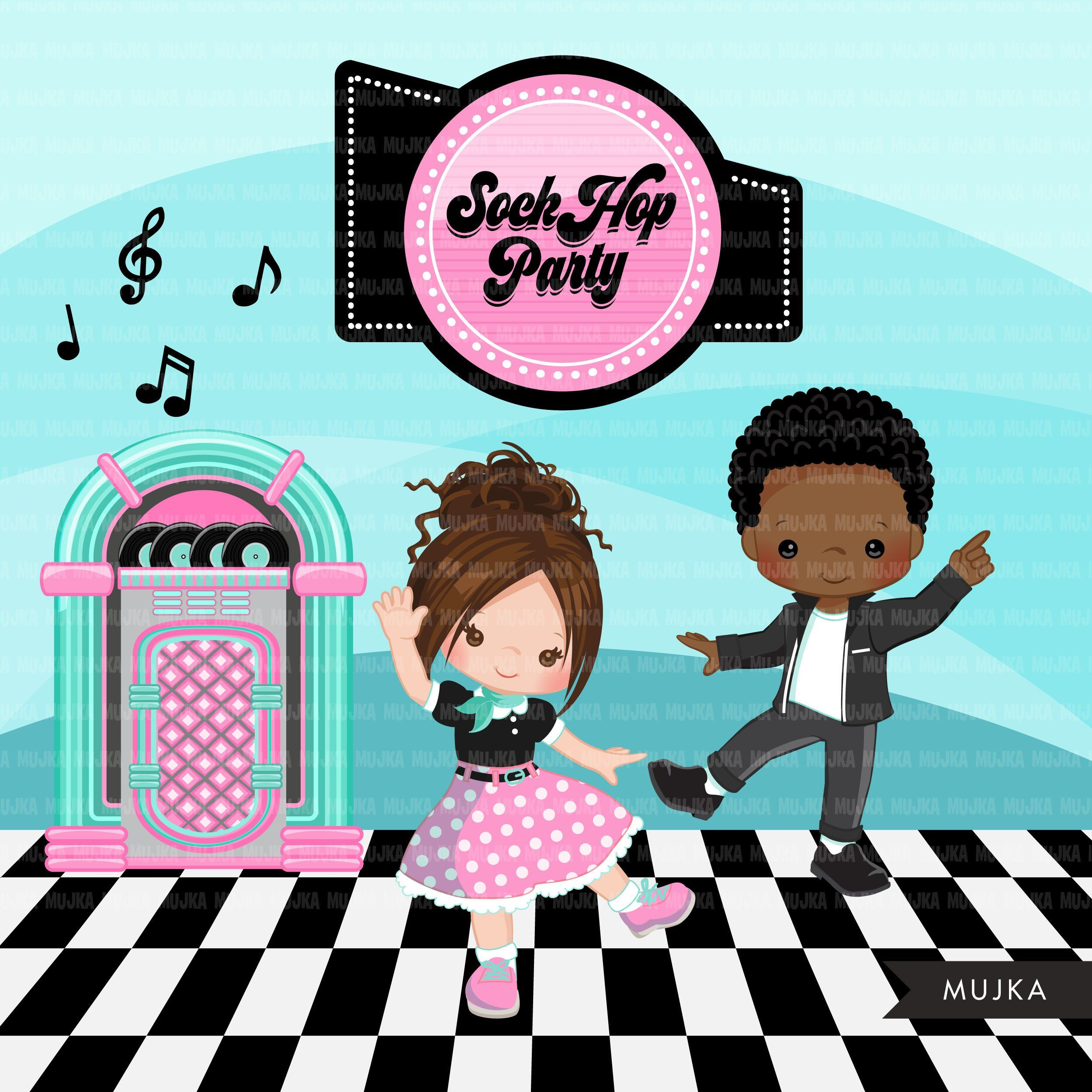50s party clipart png black and white Sock Hop Party Clipart. 50\'s retro diner, jukebox, Cadillac, diner ... png black and white