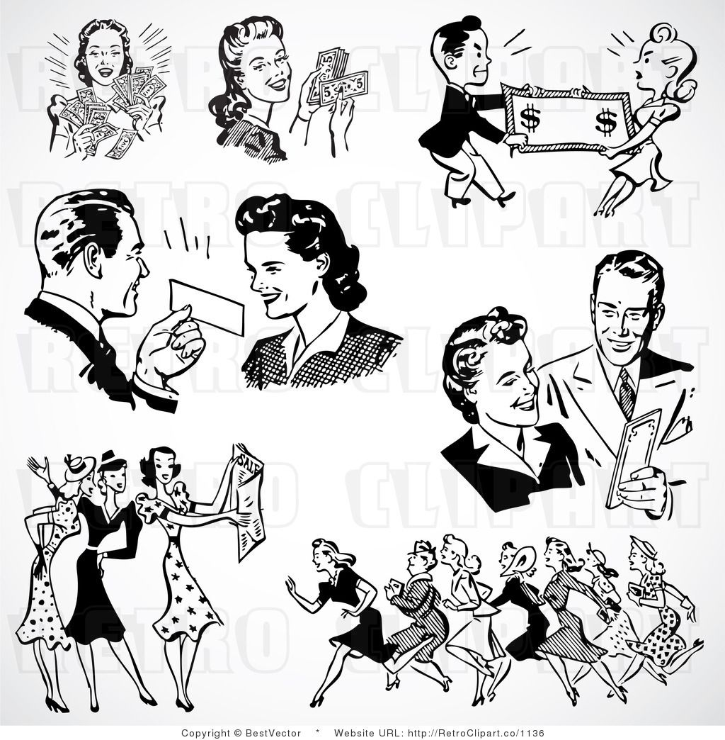 50s retro black and white clipart of a woman picture freeuse Digital Collage of Men and Women Shopping   retro people in 2019 ... picture freeuse