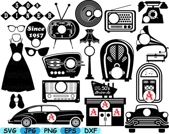 50s vintage designs clipart download Black Circle Monogram 50\'s Retro Vintage radio music sport car ... download