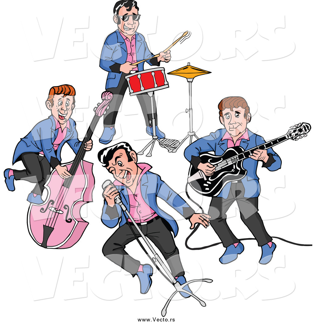50s rockabilly music clipart jpg black and white download Vector of a Rockabilly Music Band of Guys Singing and Playing the ... jpg black and white download