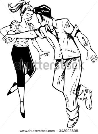 50s rockabilly music clipart picture download Retro rockabilly dancers jiving to rock and roll music. | Retro ... picture download