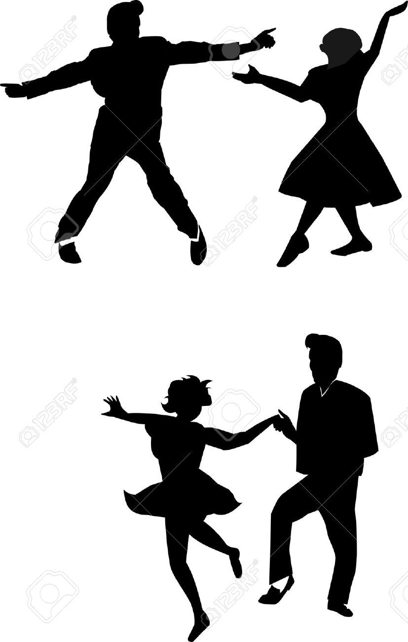Black and white clipart dancing through the decades clipart free download 50s Stock Vector Illustration And Royalty Free 50s Clipart | Words ... clipart free download