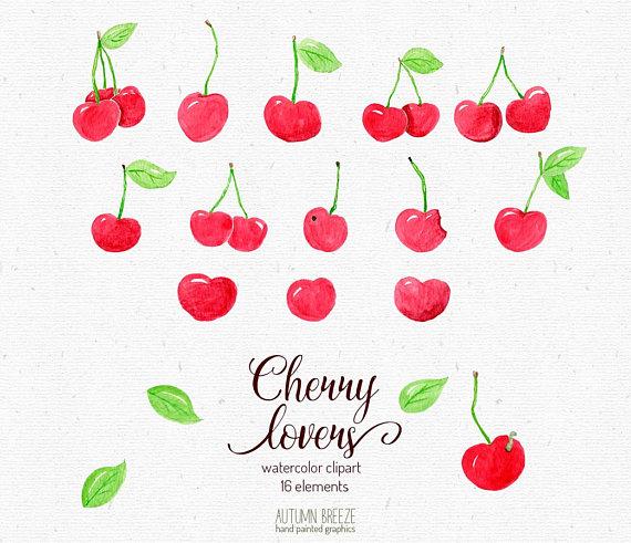 50s style fruit clipart image Watercolor fruit clipart, cherry clipart, watercolor clip art ... image