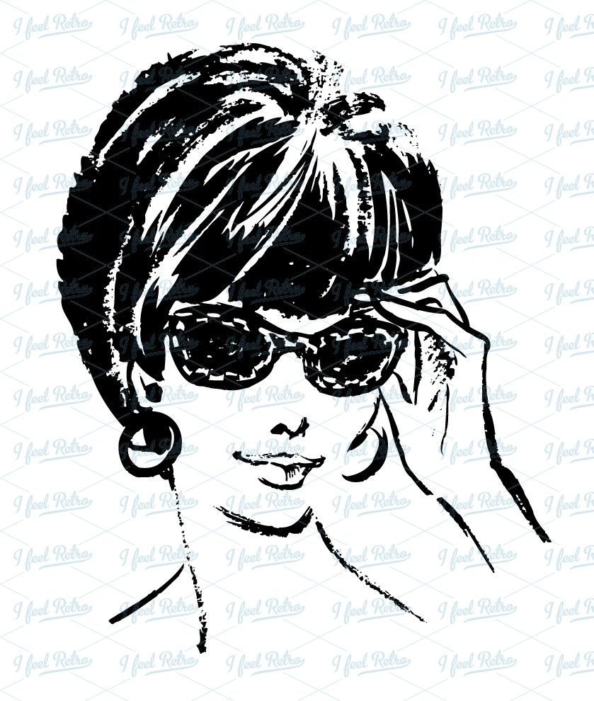 50s woman clipart vector library download 50s Woman Clipart Woman with sunglasses | crafts | Clip art, Retro ... vector library download