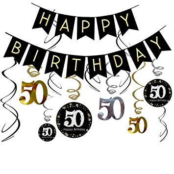 50th birthday banner clipart clipart transparent 50th Birthday Decorations Kit- Gold Glitter Happy Birthday Banner &  Sparkling Celebration 50 Hanging... clipart transparent