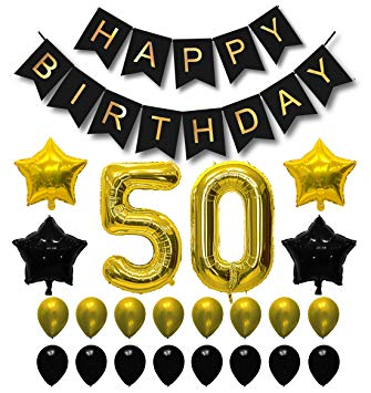 50th birthday banner clipart clip black and white library 50th Birthday Decorations Balloons - Happy Birthday Banner and Gold Number  Balloons - Gold and Black... clip black and white library