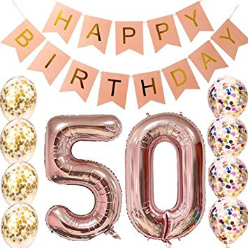 50th birthday banner clipart clip art transparent 50th Birthday Decorations Party supplies-50th Birthday Balloons Rose  Gold,50th Birthday Banner,50th... clip art transparent