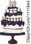 50th birthday cake clipart image library library Clipart Black And White 50th Birthday Cake With Candles And ... image library library