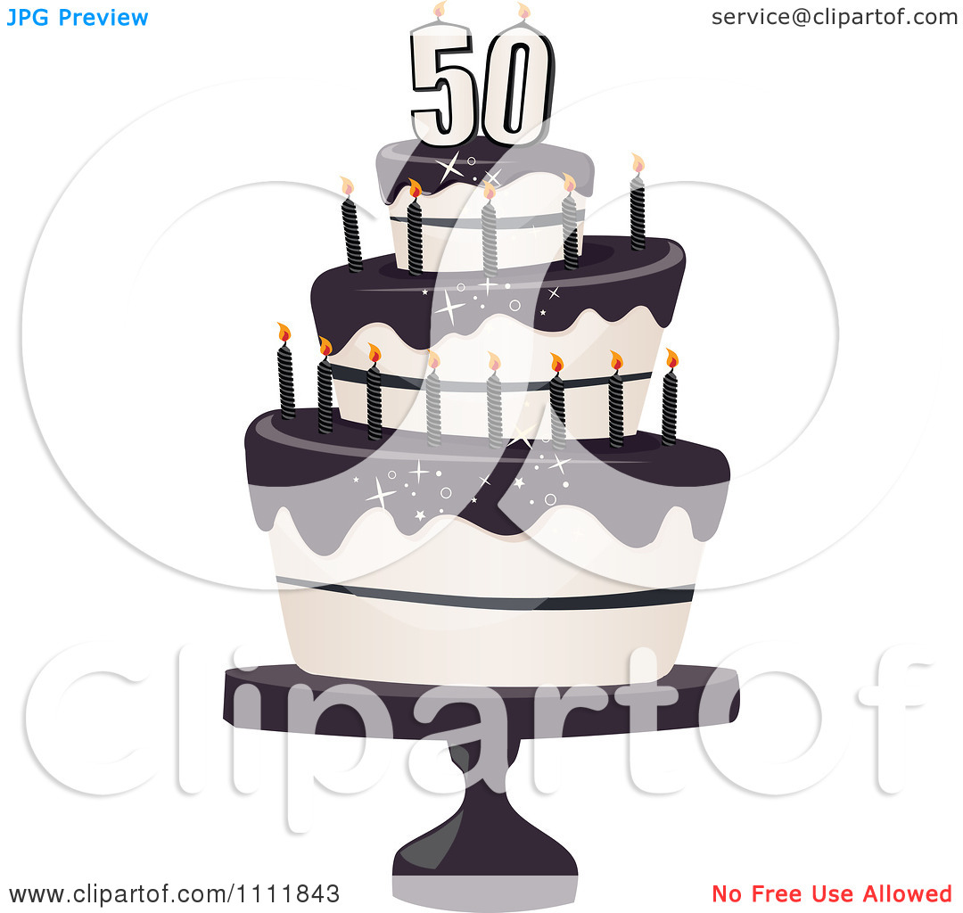 50th birthday cake clipart free Clipart Three Tiered 50th Birthday Cake With Bats And Black ... free