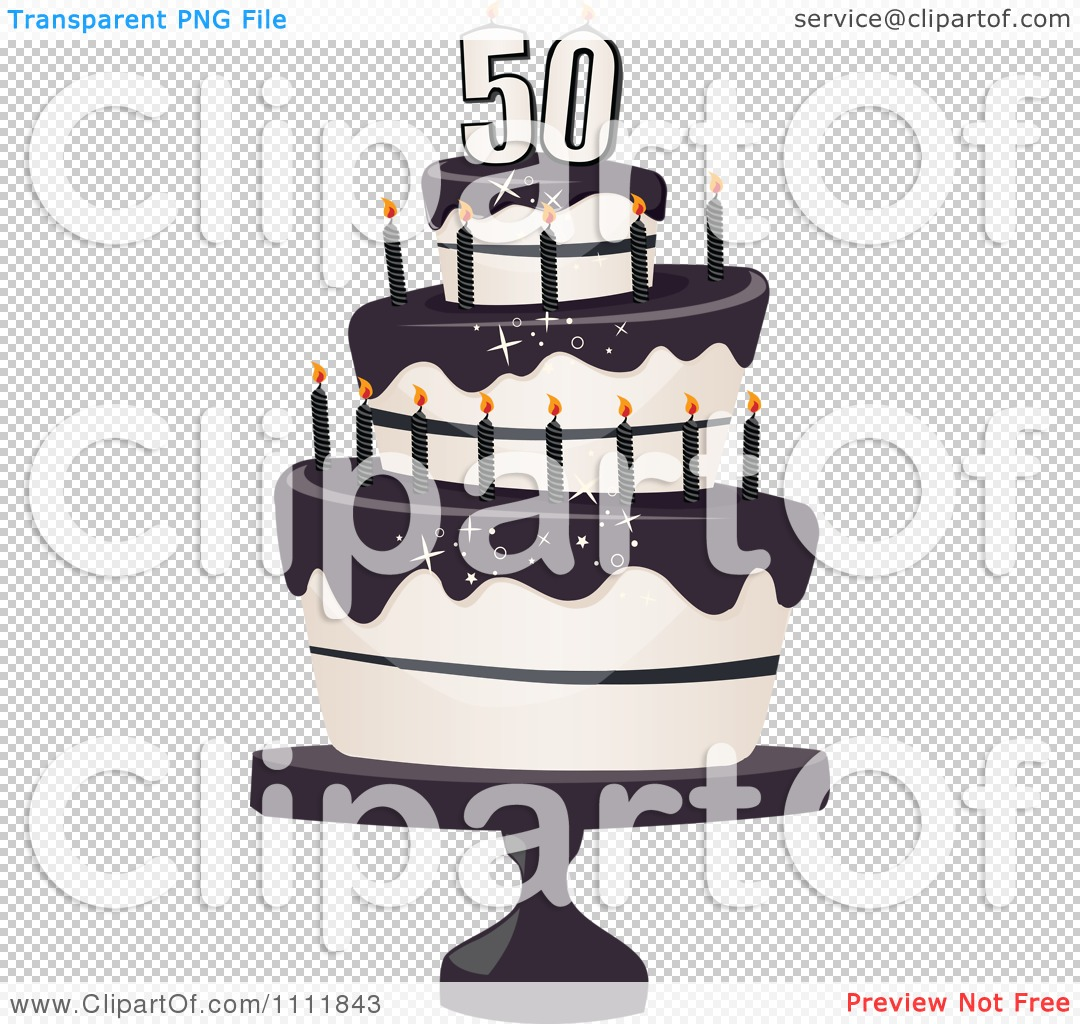 50th birthday cake clipart jpg black and white stock Clipart Three Tiered 50th Birthday Cake With Bats And Black ... jpg black and white stock