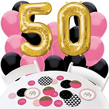 50th birthday party clipart banner Chic 50th Birthday - Pink, Black and Gold - Confetti and Balloon Birthday  Party Decorations -... banner