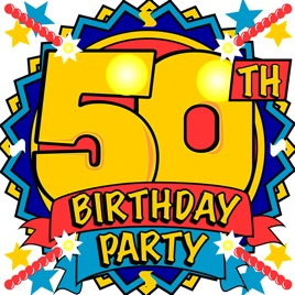 50th birthday party clipart picture black and white 50th Birthday Party Music by Cherry Pie picture black and white
