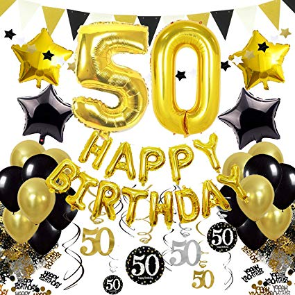 50th black balloons clipart banner free stock Cocodeko 50th Birthday Decorations, Black Gold Happy Birthday Balloons  Number 50 Star Foil Balloons Birthday Confetti Triangular Garland  Star-shaped ... banner free stock
