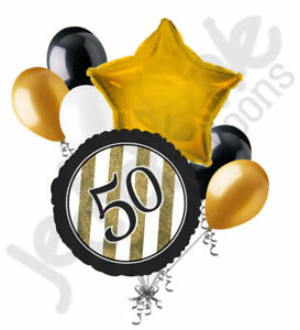 50th black balloons clipart free download Details about 7 pc 50th Black & Gold Elegant Stripes Balloon Bouquet Party  Decoration Birthday free download
